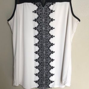 Maurices Tops - White and black lace tank